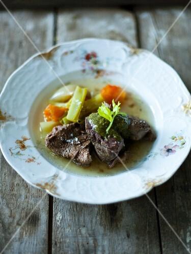 Cooked beef with salsa verde