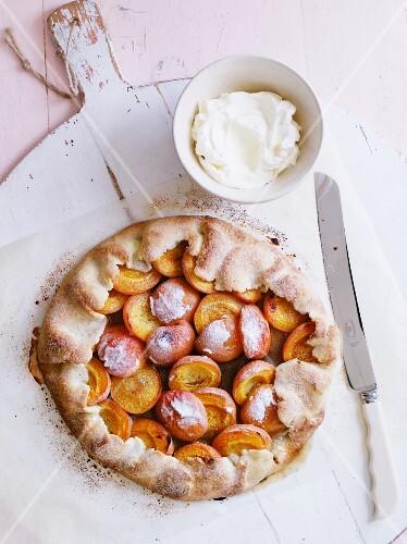 Apricot crostata with cream