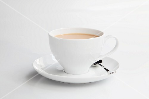 A cup of milky coffee