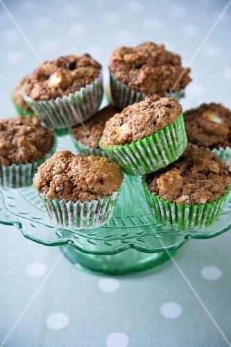 Apple Raisin Muffins on a Green Pedestal Dish