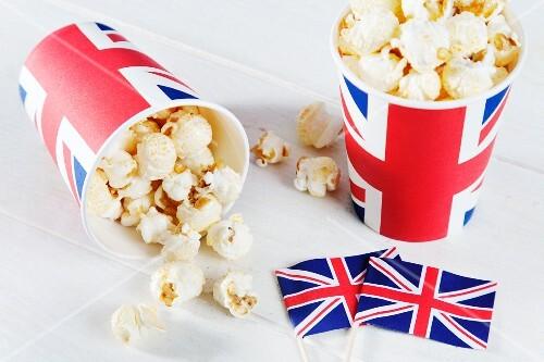 Popcorn in Union Jack buckets