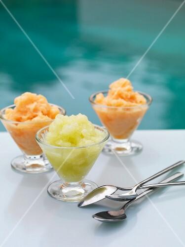 Three melon sorbets