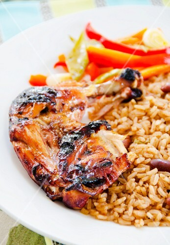 Jerk chicken with beans and rice (Jamaica)