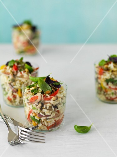 Rice salad with wild rice and fresh herbs
