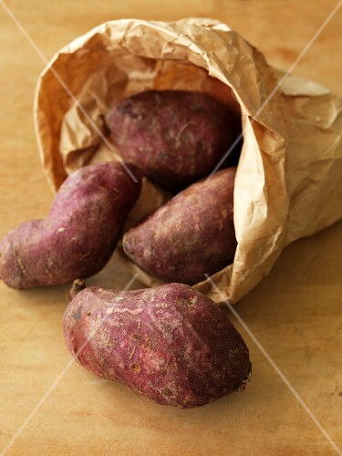 Sweet potatoes in a paper bag