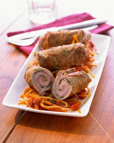 Involtini alla bolognese (Italian veal roulade)