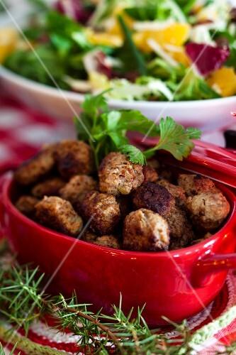 Meatballs with salad for Christmas