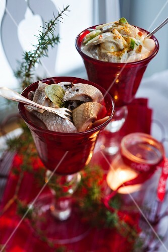Preserved herring and curried herring for Christmas dinner (Sweden)