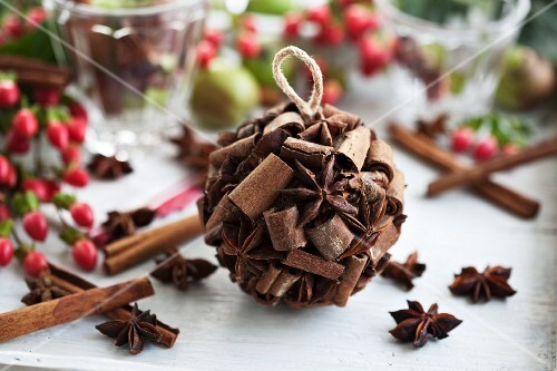 Scented pomander made of cinnamon sticks and star anise