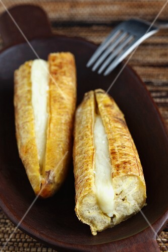 Platano con queso (fried and baked plantains filled with cheese, Colombia)