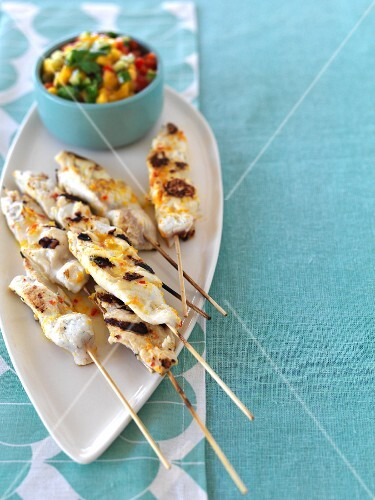 Grilled fish kebabs with a citrus marinade