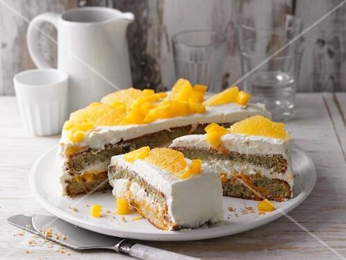 Mango and orange cake with mascarpone cream