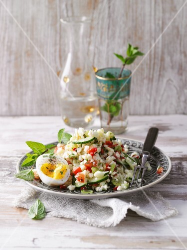 Cauliflower tabbouleh with eggs and mint