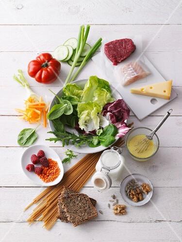 An arrangement of salad ingredients