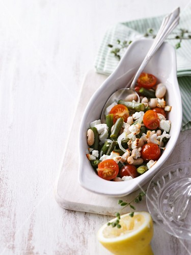 A duo of beans with tomatoes and feta cheese