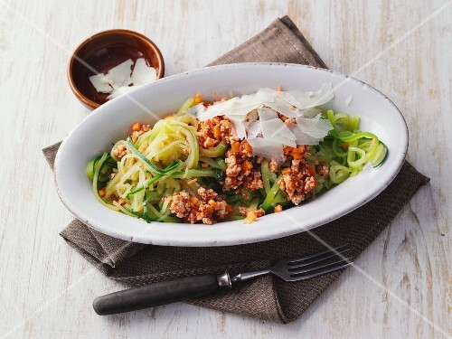 Courgette pasta with minced chicken bolognese