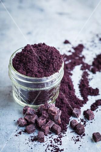 Acai berry powder in a glass
