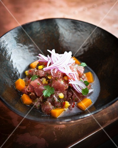 Tuna fish ceviche with sweetcorn and sweet potatoes at the Charango restaurant, Cape Town, South Africa