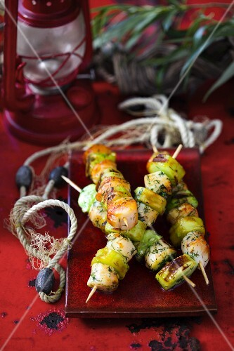 Grilled scallop and cucumber skewers