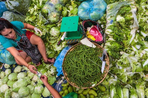 A market woman sitting at a stand selling green vegetables at Vientiane, Laos