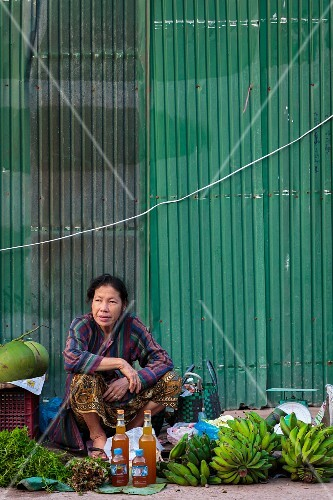 A market woman against a green wall selling bananas, herbs and wild honey, Vientiane, Laos