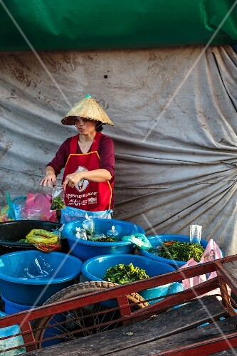 Pickled vegetables at a market in Vientiane, Laos