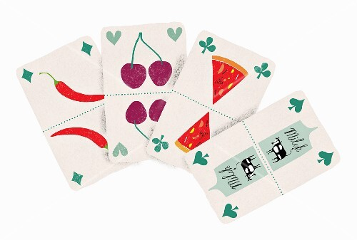 Playing cards with food pictures (illustration)