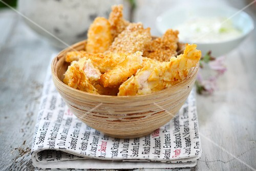 Chicken strips with an almond coconut coating