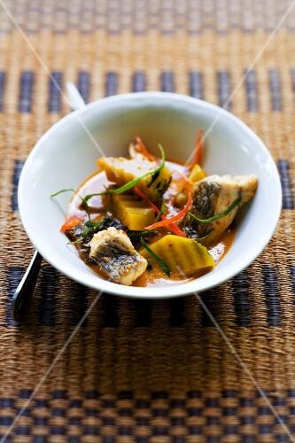 Gaeng Pet Pla (redfish curry with pumpkin, Thailand)