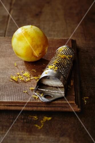 A lemon and lemon zest with a vintage greater