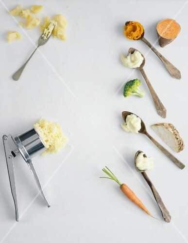 Mashed potatoes with various ingredients