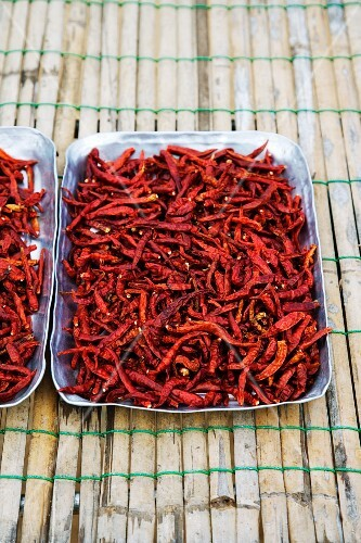Dried red chillis in an aluminium tray at a market (Thailand, Asia)