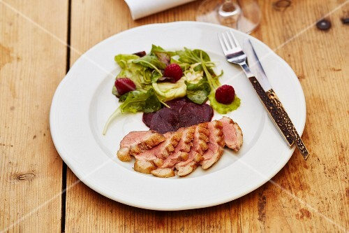 Wild duck breast with beetroot carpaccio