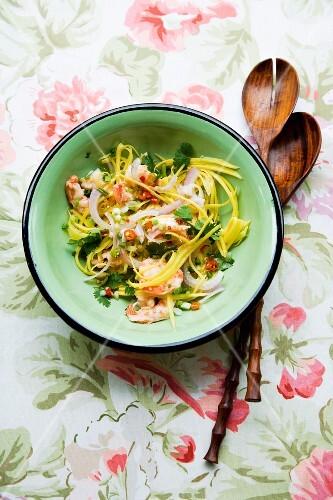 Yam Gung (salad made with prawns, minced pork and green Thai mango)
