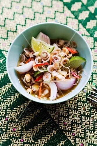 Yam Takrai (salad made with lemongrass, shallots and nuts, Thailand)
