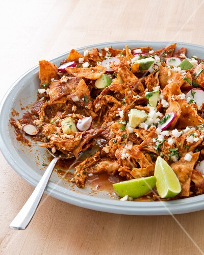 Chilaquiles with avocado (Mexico)
