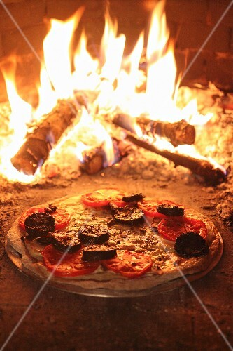 Stone-baked pizza with cheese, tomatoes and black pudding in a woodfired oven