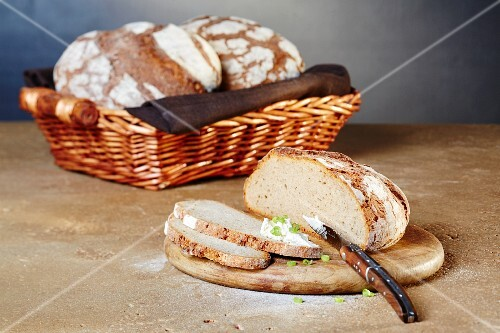 Sourdough bread with cream cheese and spring onions