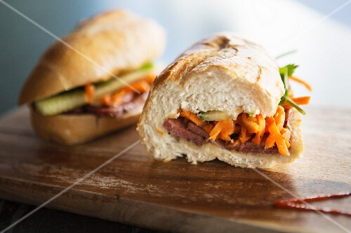 Banh mi (sandwich with carrots and pork, Vietnam)