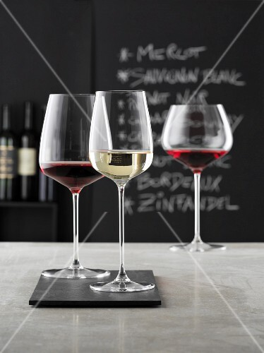 Glasses of wine in a wine bar