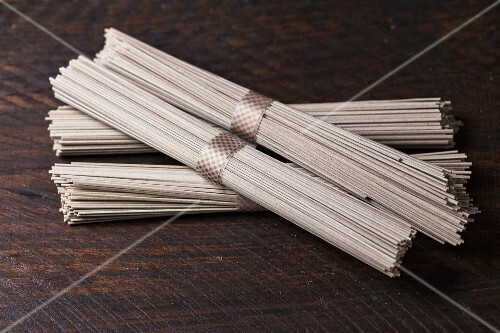 Bundles of buckwheat noodles