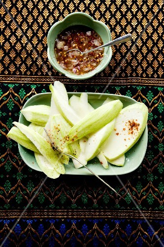 Nam Jim Mamuang Pla Waan (green mango with a sweet chilli dip, Thailand)