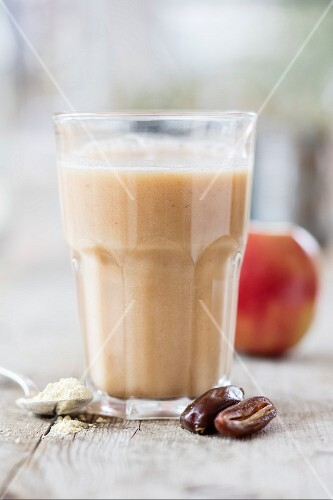 Vegan protein shake with apple and dates