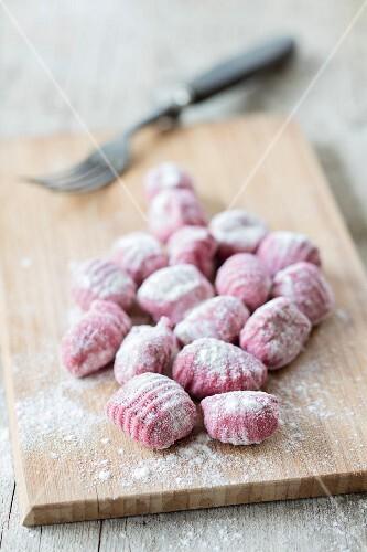 Fresh beetroot gnocchi