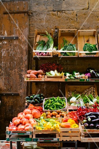 A fresh vegetable stand in Florence, Italy