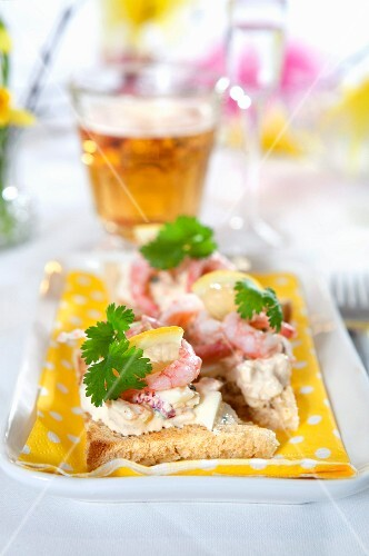 Toast with seafood for Easter