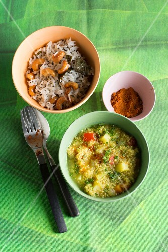 Lemon rice with cashew nuts and quinoa soup with coriander