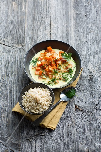 Sweet potato curry with basmati rice
