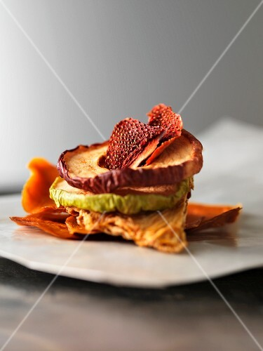 A stack of dried fruit slices
