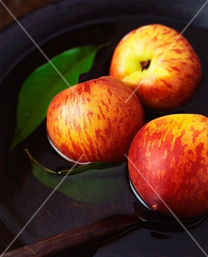 Three apples and leaves in a vintage wooden bowl of water